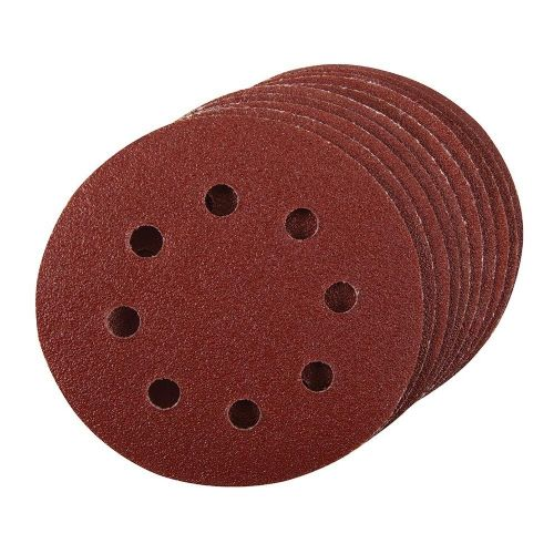 10 Pack Silverline 273212 Hook & Loop Sanding Discs Punched 115mm 240 Grit